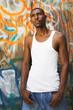 hip-hop man and graffiti