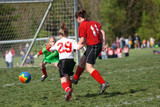 Youth Teen Girls in Action on Soccer Field poster
