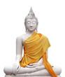 Statue de boudha sur fond blanc