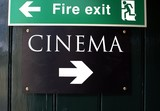 sign. fire exit. cinema poster