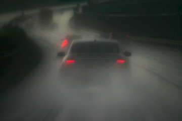 a rainy day on a highway