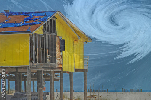 Hurricane Destroyed Home with Storm Overlay - 4085513