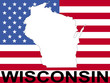 map of Wisconsin on american flag