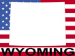 map of Wyoming on american flag