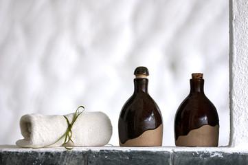 Shampoo, body lotion and towel