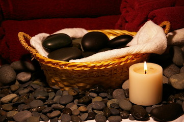 Basket of massage Stones with Candle