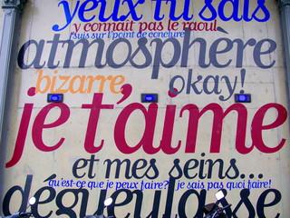 je t'aime, façade avec inscriptions, Paris 19