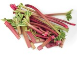 red rhubarb stems for spring sour compote poster