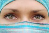 Green eyes of arabian pretty girl poster