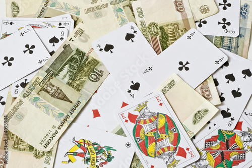 Playing cards and bank notes Poster
