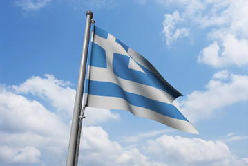 Greece Flag Waving in Front of Cloudy Sky