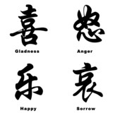 chinese expression characters poster