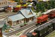 Leinwanddruck Bild - Model Train Station