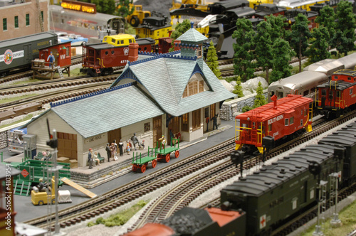 Foto op Aluminium Treinstation Model Train Station