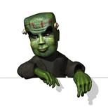 Cartoon Frankenstein on Edge poster