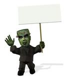 Cartoon Frankenstein with Blank Sign poster