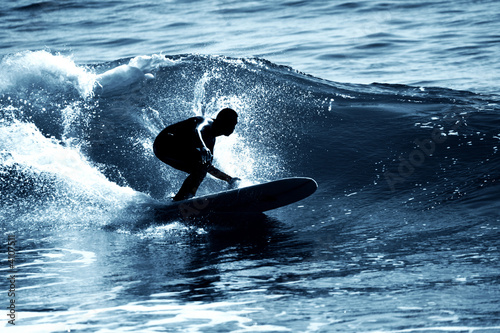 canvas print picture Surfeur en contre jour