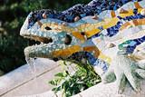 lizard fountain, barcelona poster