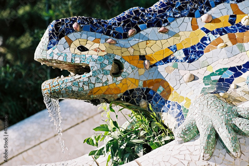 lizard fountain, barcelona