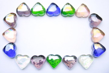 heart shaped gem stones formed into a frame