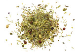 Pile of mixed herbs isolated on white background poster