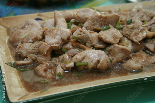 chicken meat cooked with vinegar and soysauce (adobo)