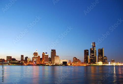 City skyline by night (Detroit, Michigan)