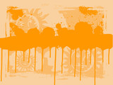 Orange Drips with copyspace poster