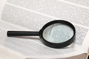 Magnifier on book