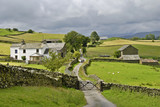 Country lane and farm poster