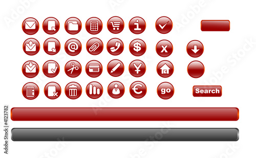 32 red icon set + long button background