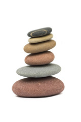 Stacked pebbles isolated on white