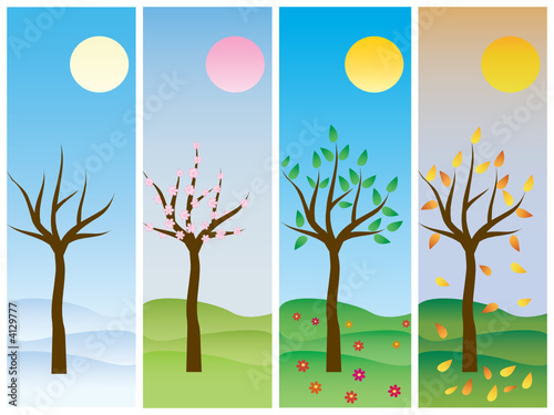 Seasons: winter, spring, summer, autumn. Vector.