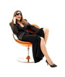 businesswoman with phone in orange chair #2