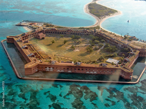Aerial View of Fort Jefferson, Florida - 4131113