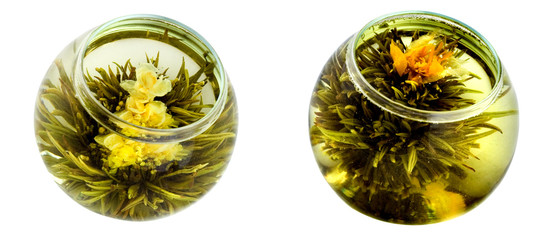 Two bowls of green tea with chrysanthemums
