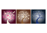 beautiful vector tree designs in different seasons  poster