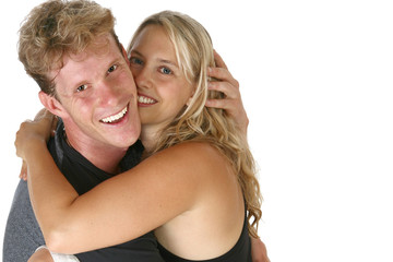 Couple Hugging Smiling