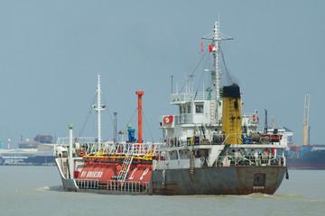 LPG ship on a river