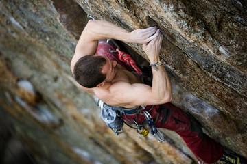 Male Rock Climbing