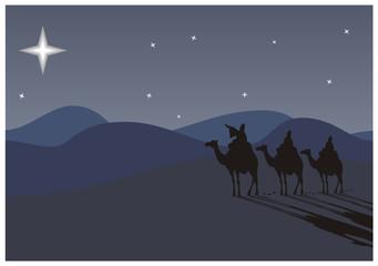 Três sábio-homens que viajam a Belém, seguindo a estrela