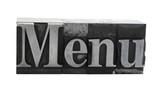 'menu' in metal letterpress type
