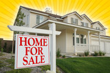 Home For Sale sign & New Home on Star-burst Yellow Background poster