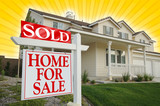 Sold Home For Sale sign on Star-burst Yellow Background poster