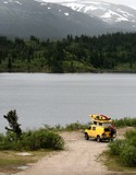 campers,camping,kayak poster
