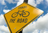 Bicycle caution sign poster