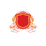 An heraldic shield or badge     poster