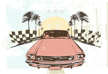 Vector illustration - High speed racing car on grunge