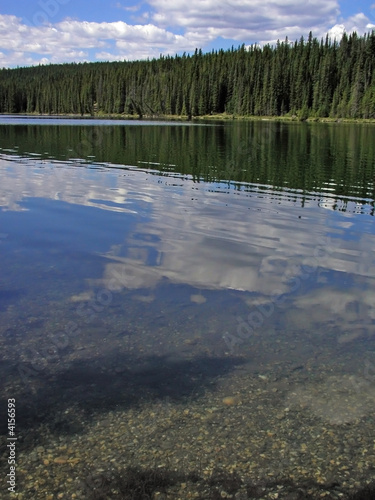 Cloud reflections in a forest lined lake