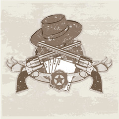 Vector insignia and banner with  two guns and  hat